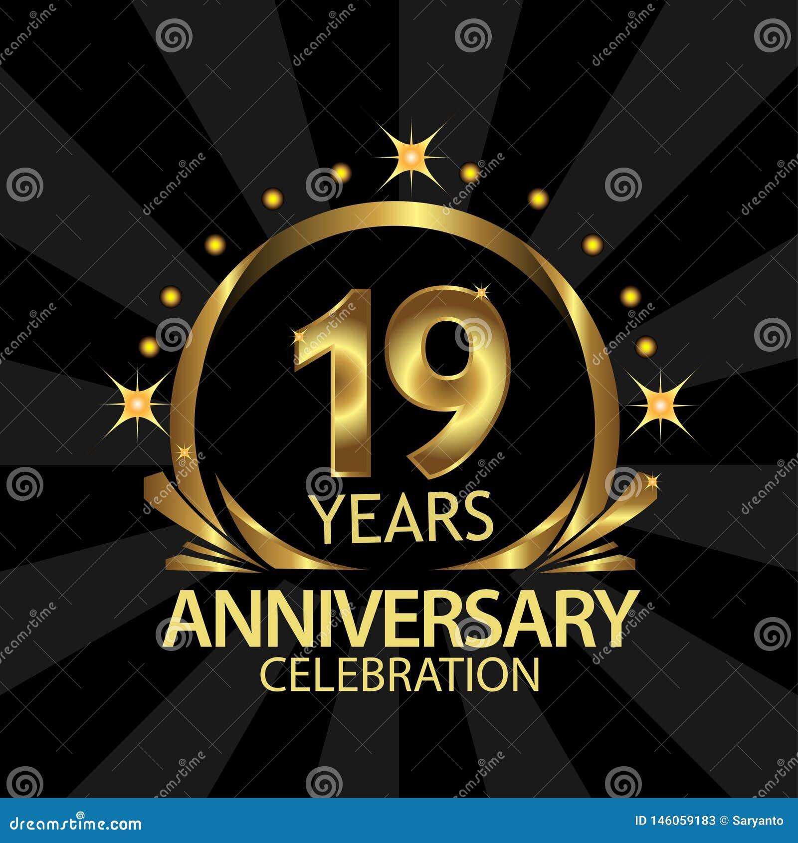 Dix-neuf ans d anniversaire d or conception de calibre d anniversaire pour le Web, jeu, affiche cr?ative, livret, tract, insecte,
