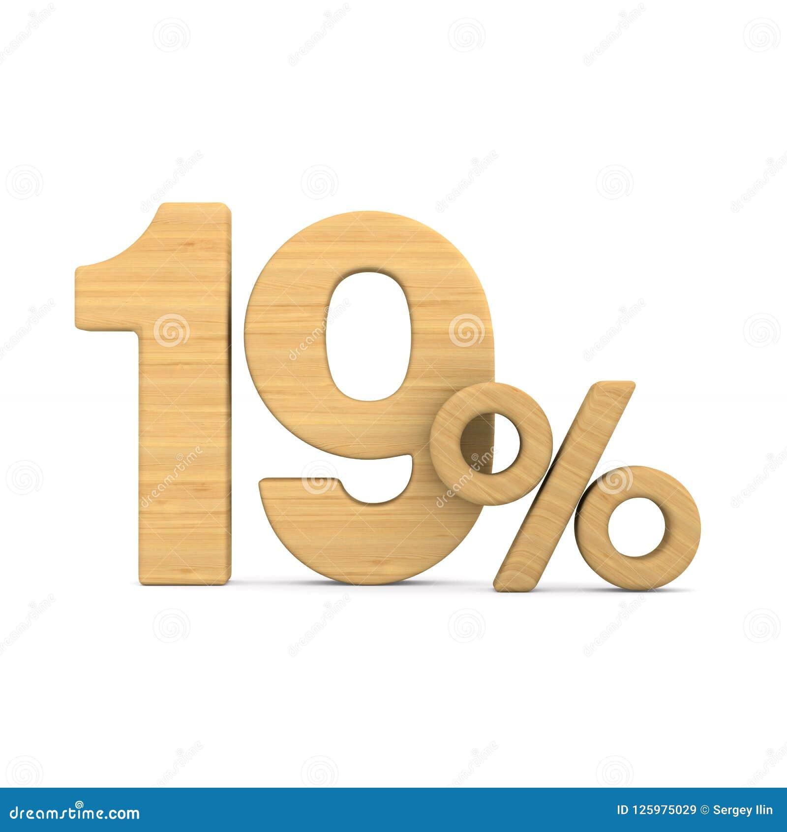 Dix-neuf pour cent sur le fond blanc Illustration 3d d isolement