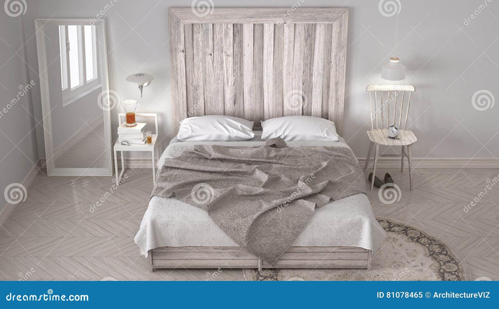 Diy bedroom bed with wooden headboard scandinavian white for Bett scandinavian design