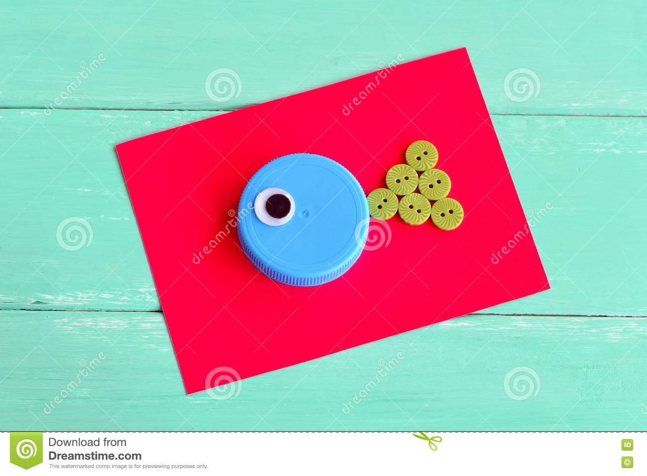 Creative Bottle Cap Ideas Recycle Crafts Stock Photo