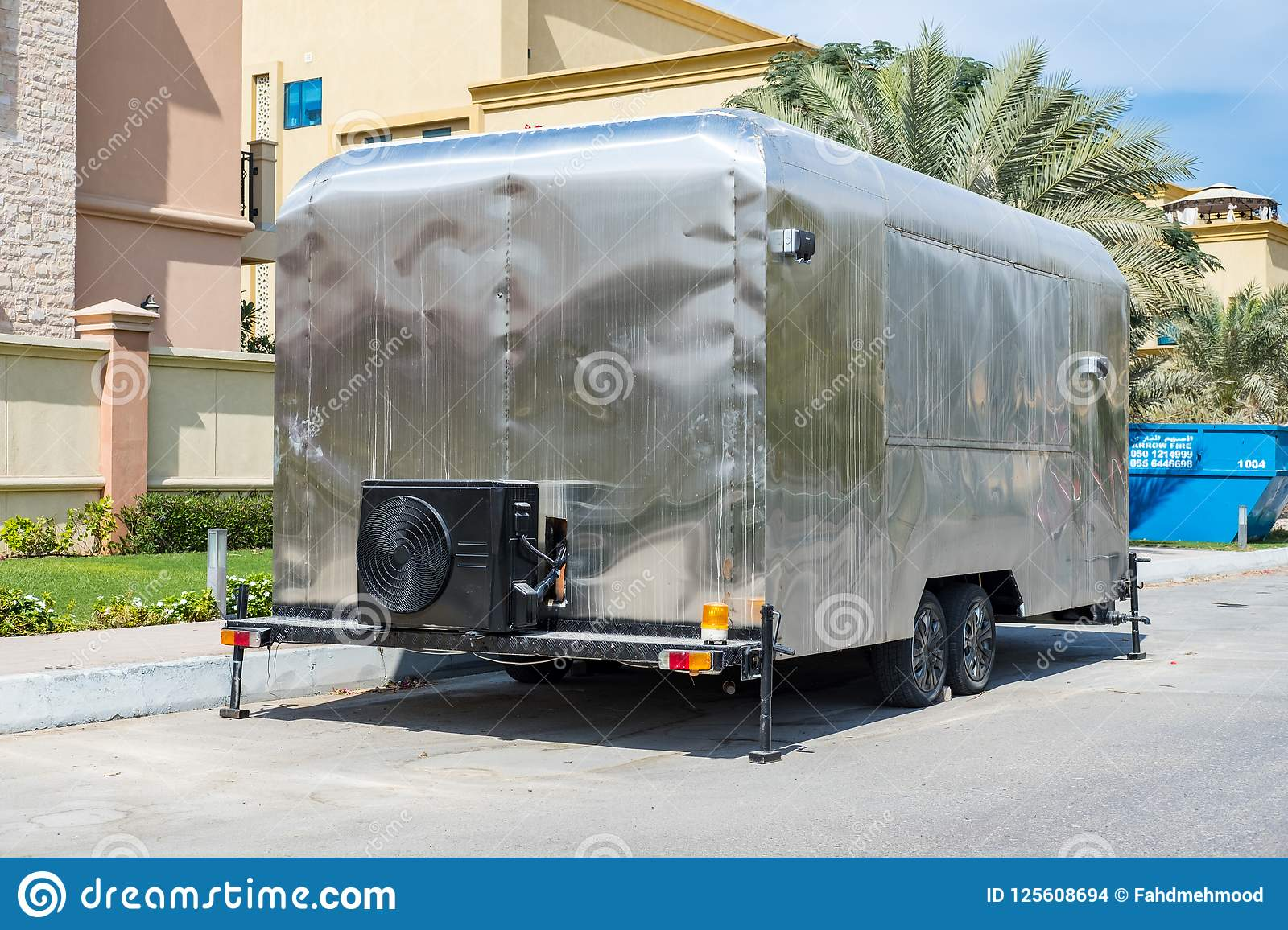 DIY Camping RV Awning Trailer, Hand Made Editorial Stock Image