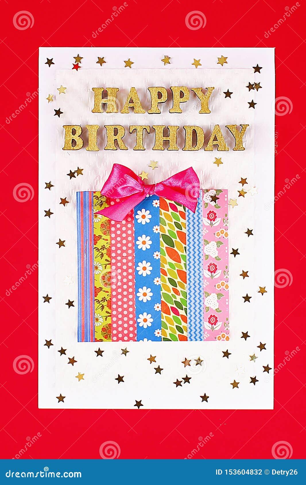 DIY card Happy birthday. Gift on a postcard scotch
