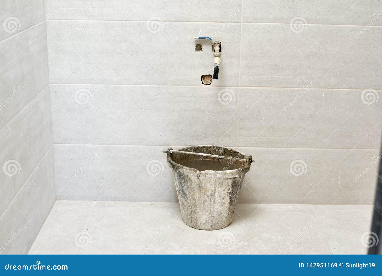 DIY, Ceramic Brick Tile Wall In A Bathroom Improvements ...