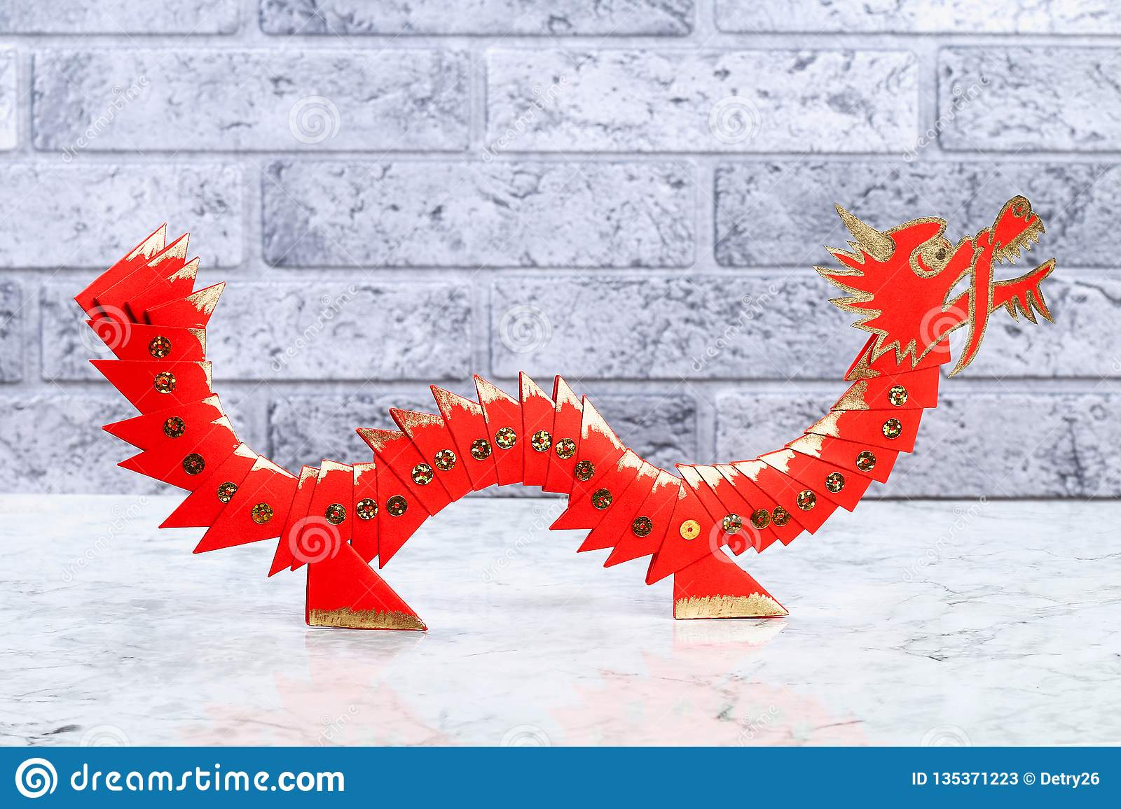 Diy Chinese Lunar Dragon Of Modular Origami Stock Image ...