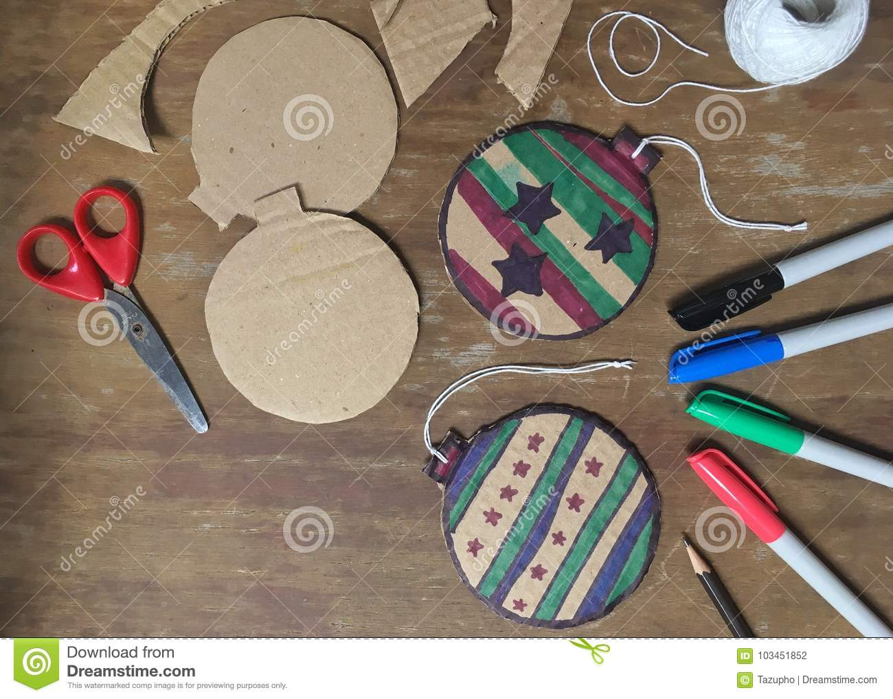 Diy Christmas Decorations From Cardboard Paper Stock Photo Image