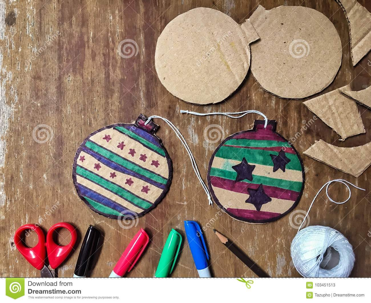 Diy Christmas Decorations From Cardboard Paper Stock Image Image