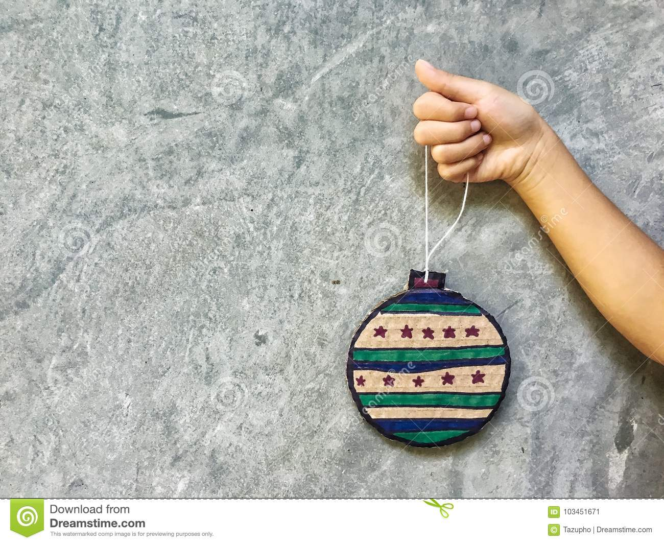 DIY Christmas Decorations From Cardboard Paper. Stock Image - Image ...