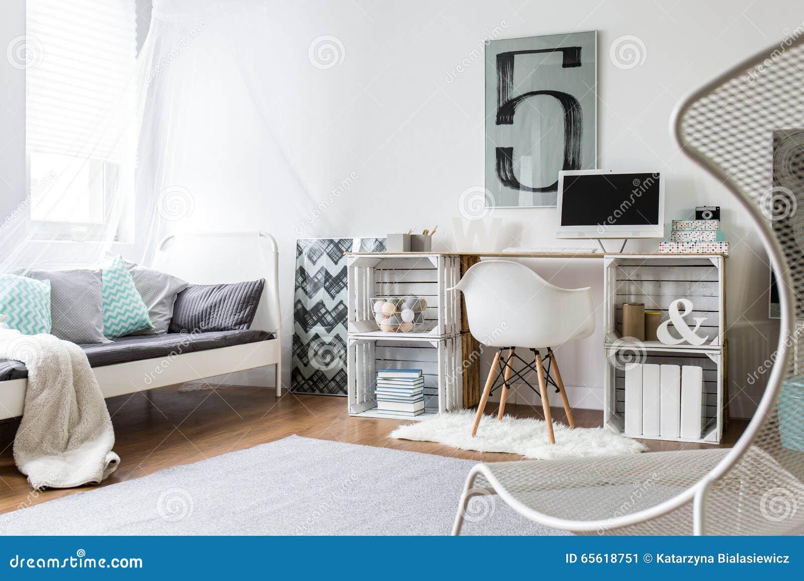 diy desk in stylish room stock image image of style. Black Bedroom Furniture Sets. Home Design Ideas