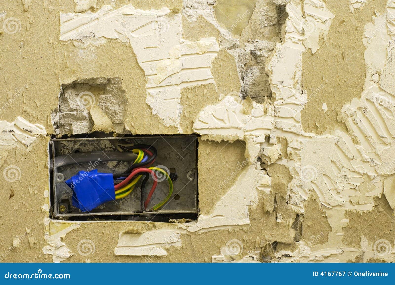 Diy Electrical Socket And Plasterwork Stock Image Of Live Wiring Behind Plaster Walls Exposed Broken Wall In Need Repair