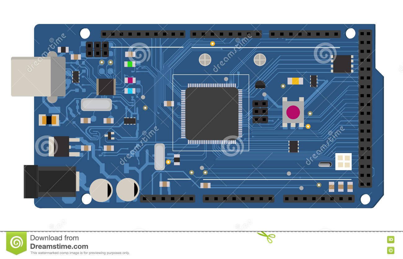 Diy Electronic Mega Board With A Micro Controller Stock Illustration Build Circuits
