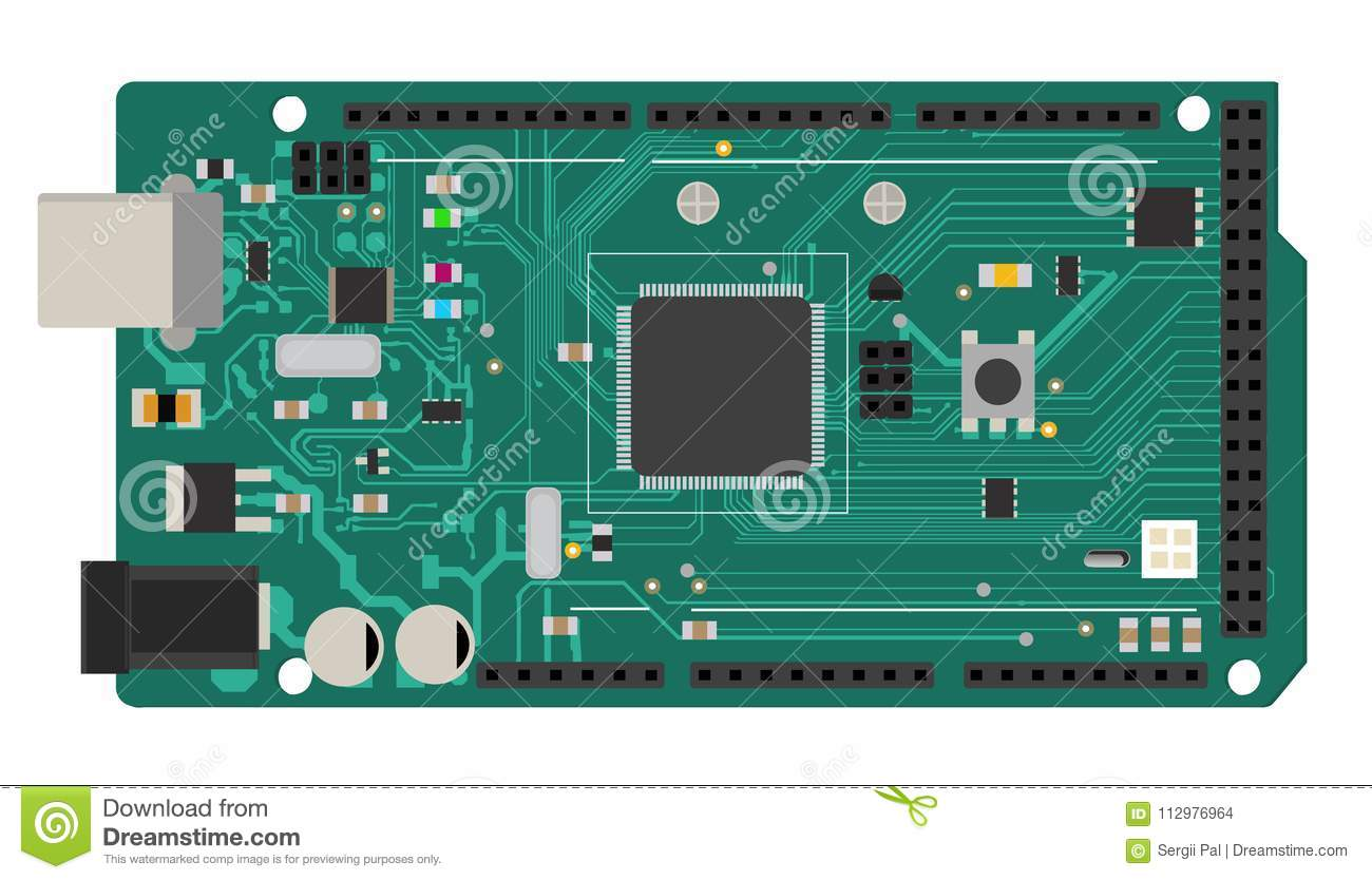 DIY electronic mega board with a microprocessor, interfaces, LEDs, connectors, and other electronic components, to form