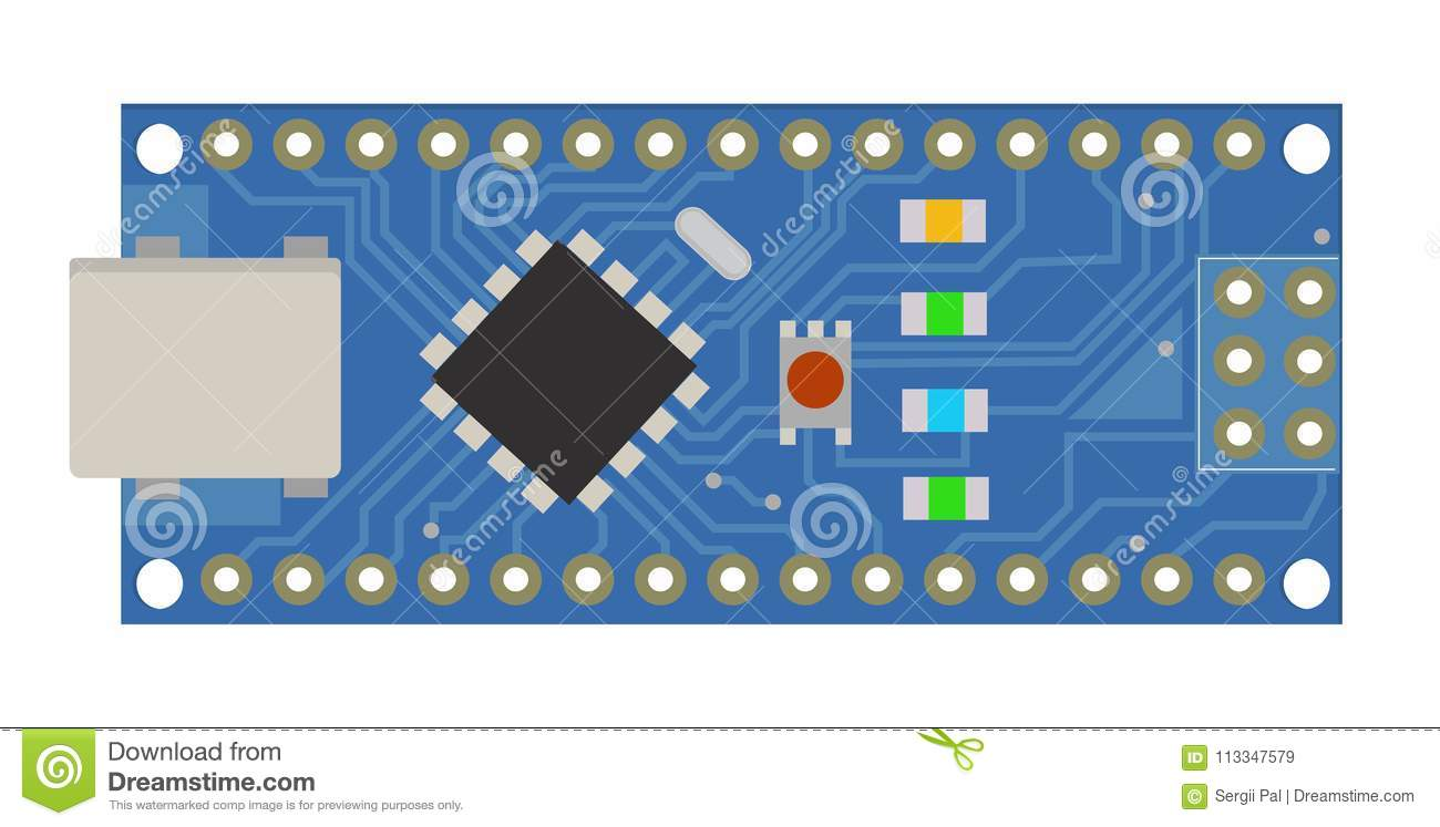 Diy Electronic Mini Board With A Micro Controller Leds Connectors Build Circuits Download And