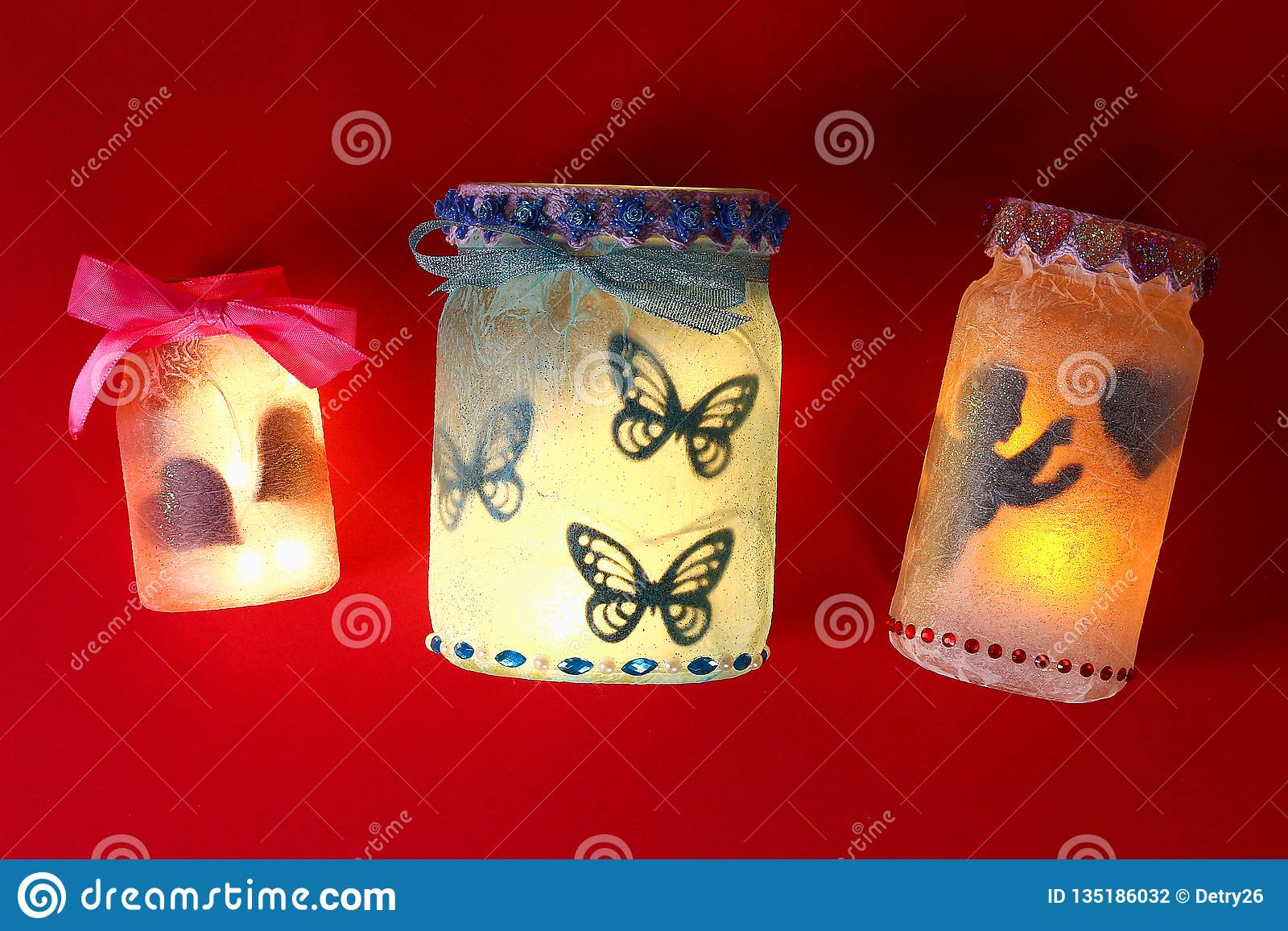 Diy Fairy Jar On Red Background Gift Ideas Decor February 14 St Valentines Day Love Handmade Stock Photo Image Of February Lamp 135186032