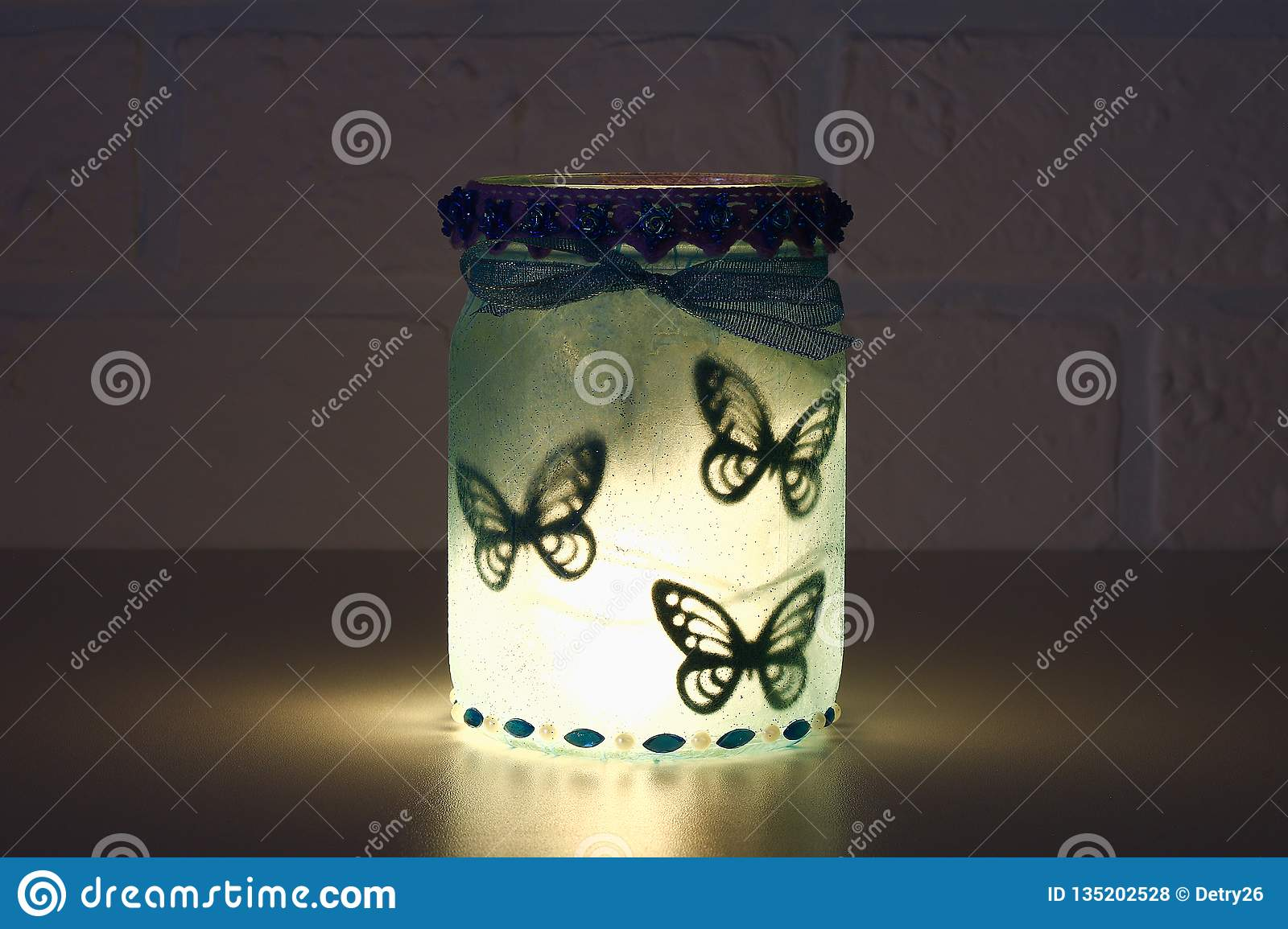 Diy Fairy Jar On White Brick Wall Background Gift Ideas Decor St February 14 Valentines Day Love Stock Photo Image Of Beautiful Wedding 135202528