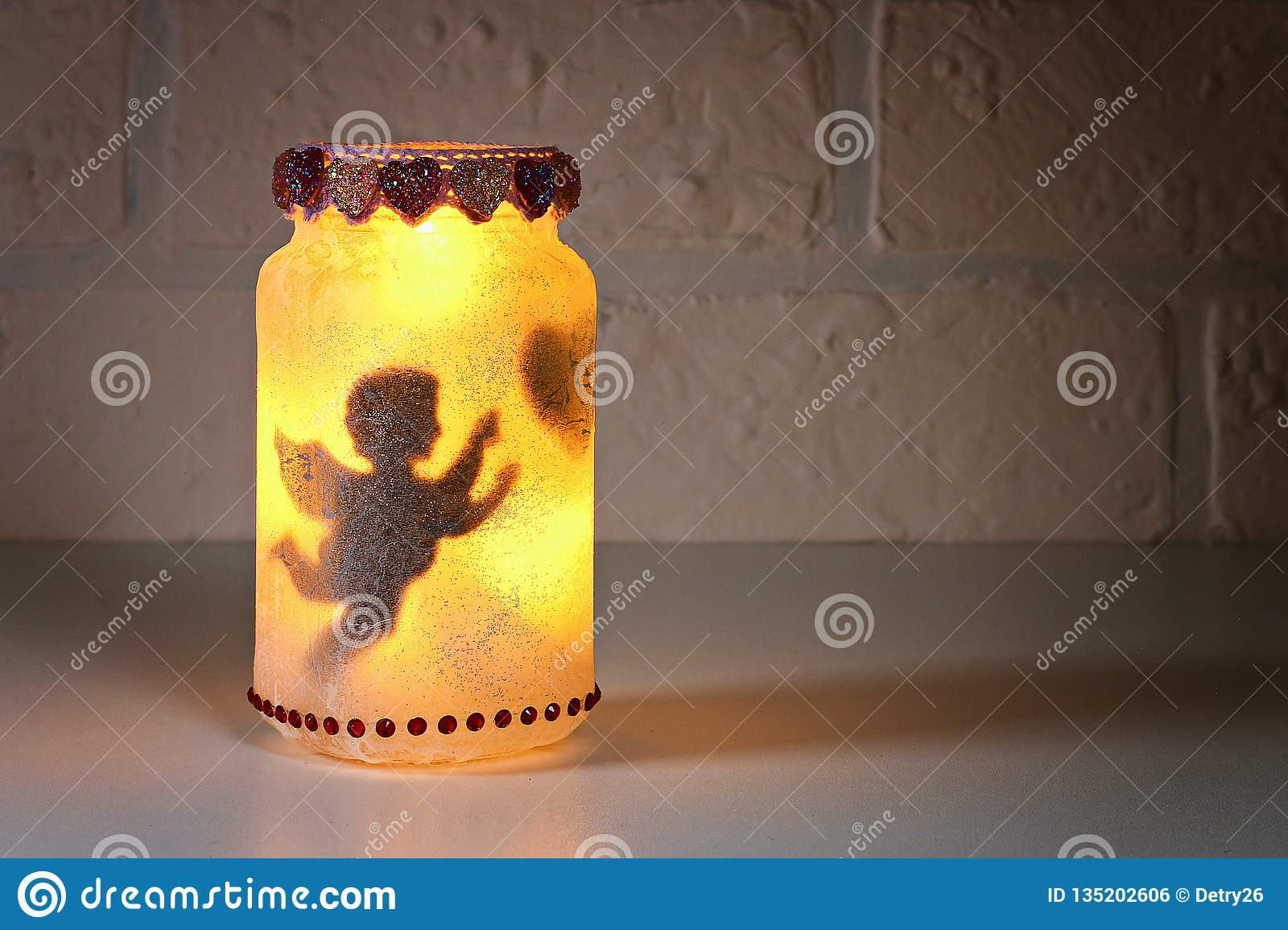 Diy Fairy Jar On White Brick Wall Background Gift Ideas Decor St February 14 Valentines Day Love Stock Photo Image Of Handmade Gift 135202606