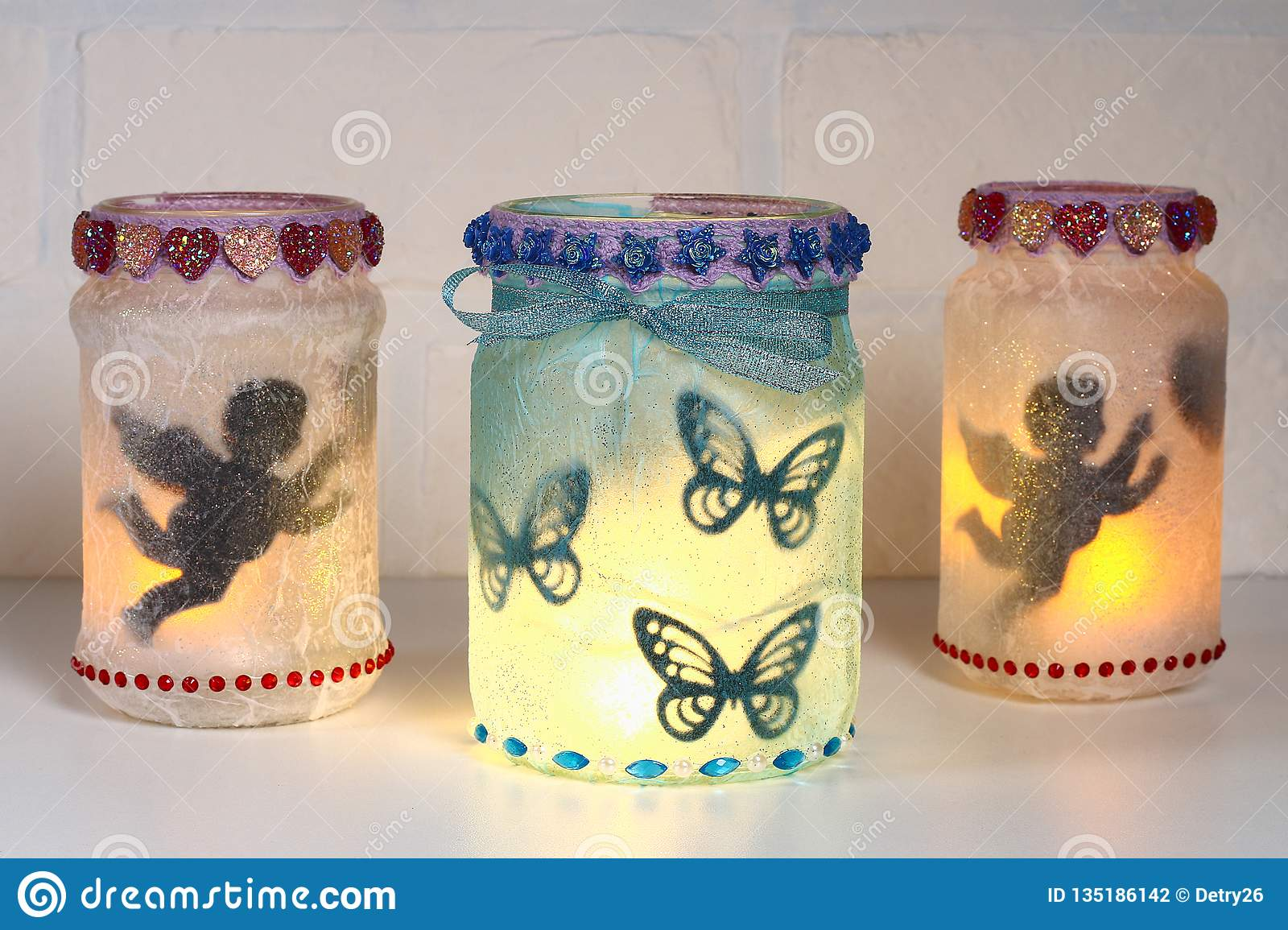 Diy Fairy Jar On White Brick Wall Background Gift Ideas Decor St February 14 Valentines Day Love Stock Photo Image Of Wall Happy 135186142