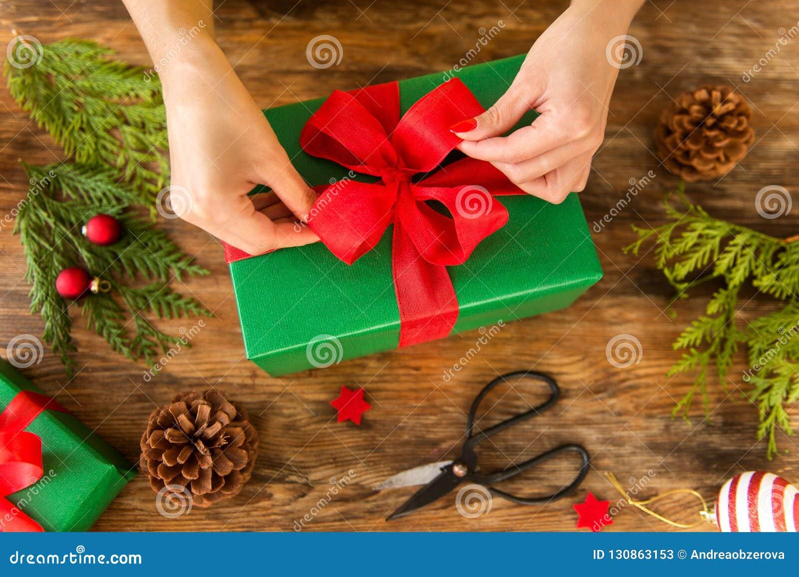 Christmas Gift Wrapping Station.Diy Gift Wrapping Woman Wrapping Beautiful Christmas Gifts