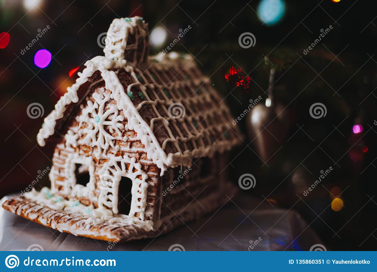 Diy Gingerbread House With Icing Sugar Stock Image Image