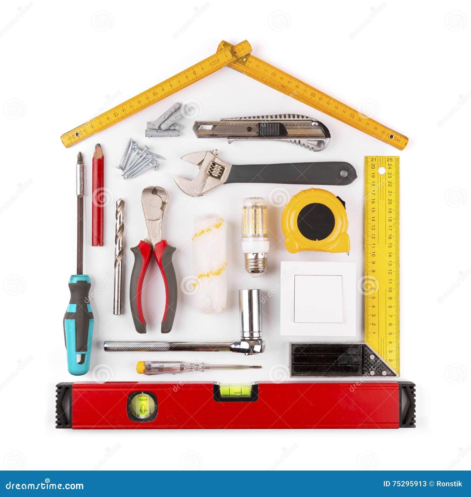 DIY - het huisvernieuwing en verbetering hulpmiddelen op wit