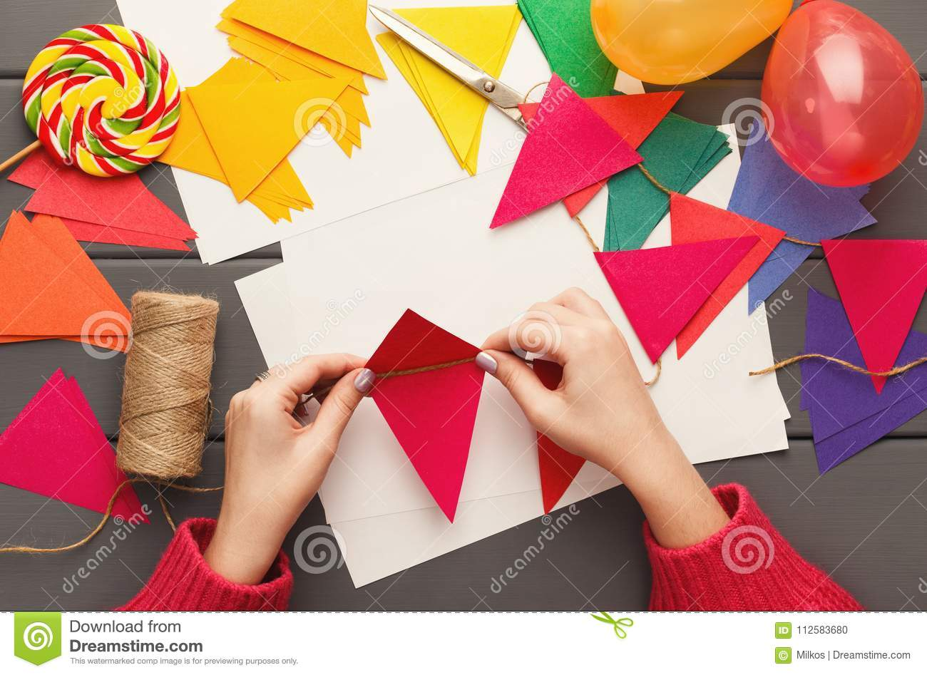 diy holiday background birthday party decorations stock photo