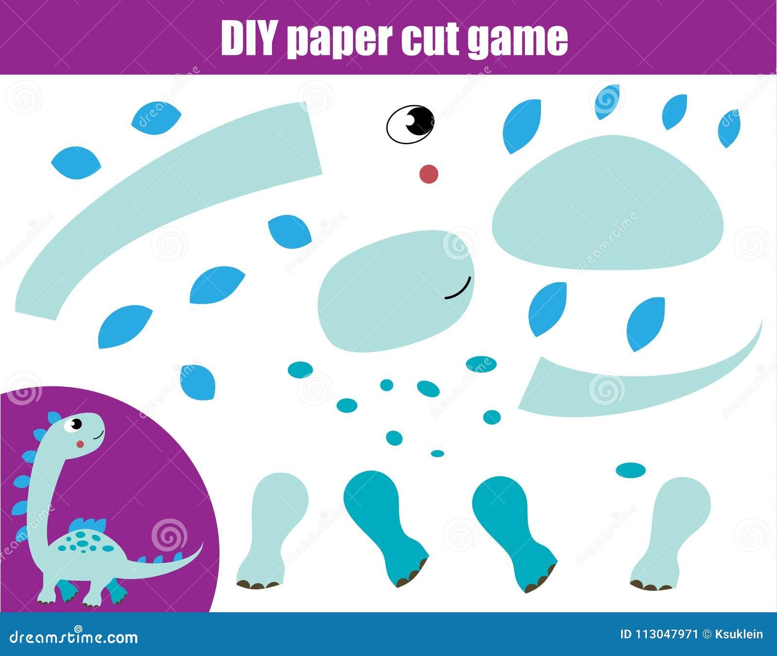 DIY-kinderen onderwijs creatief spel Document scherpe activiteit Maak Dino met lijm en schaar