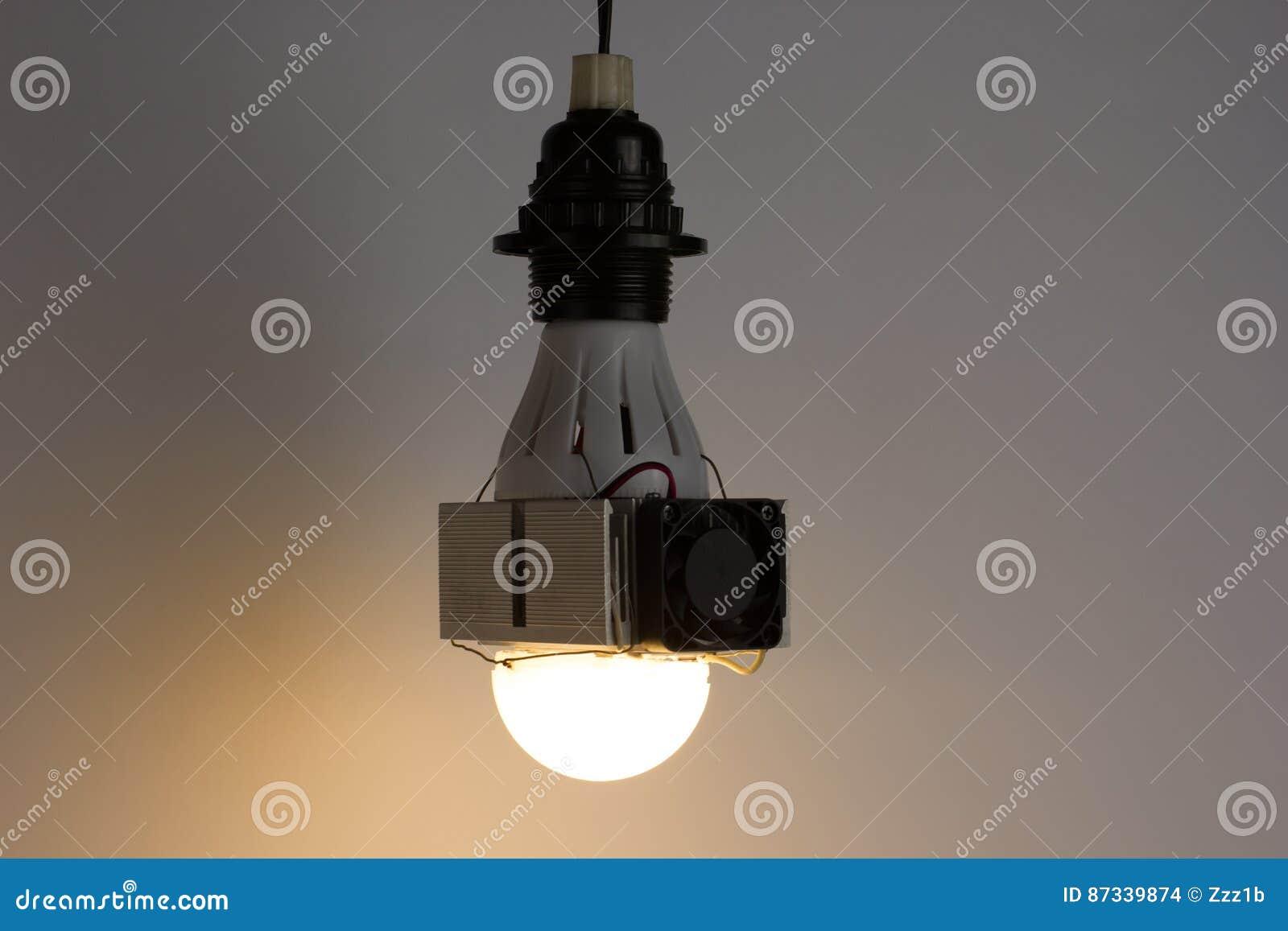 Diy Led Lamp On Light Gray Background Stock Photo - Image of