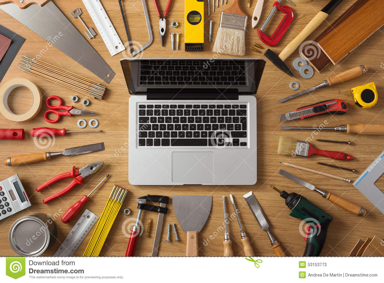 Construction Technology Tools : Diy and new technologies stock photo image