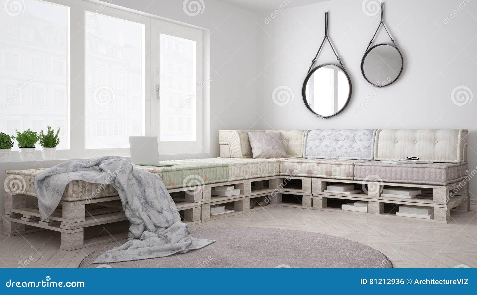 Diy pallet couch sofa scandinavian white living interior for Divan palette