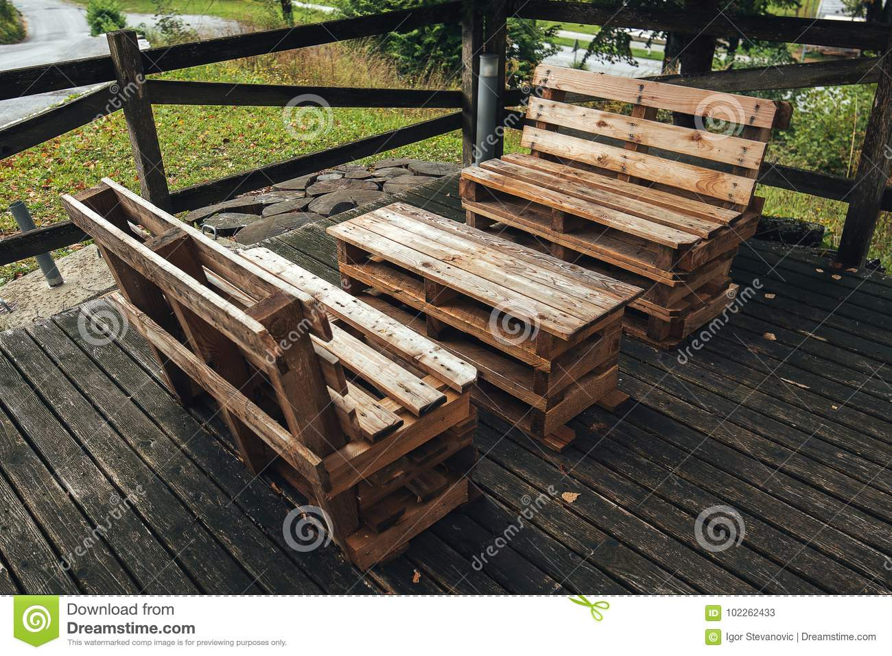 Diy Pallet Furniture Stock Image Image Of Upcycled 102262433