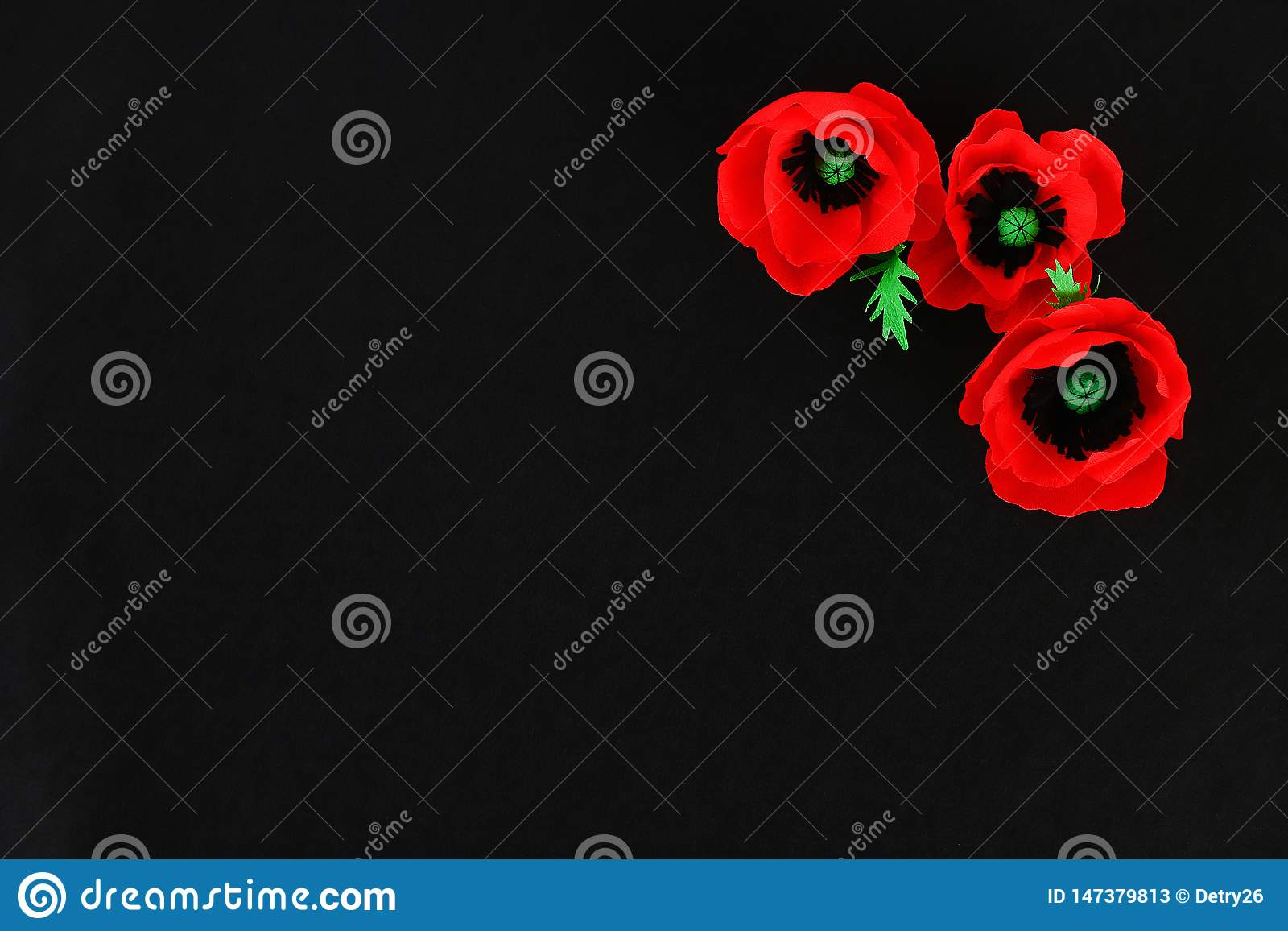 Diy paper red poppy Anzac Day, Remembrance, Remember, Memorial day crepe paper on black background