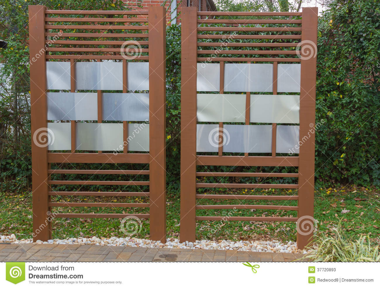 diy patio privacy fence stock photos image 37720893