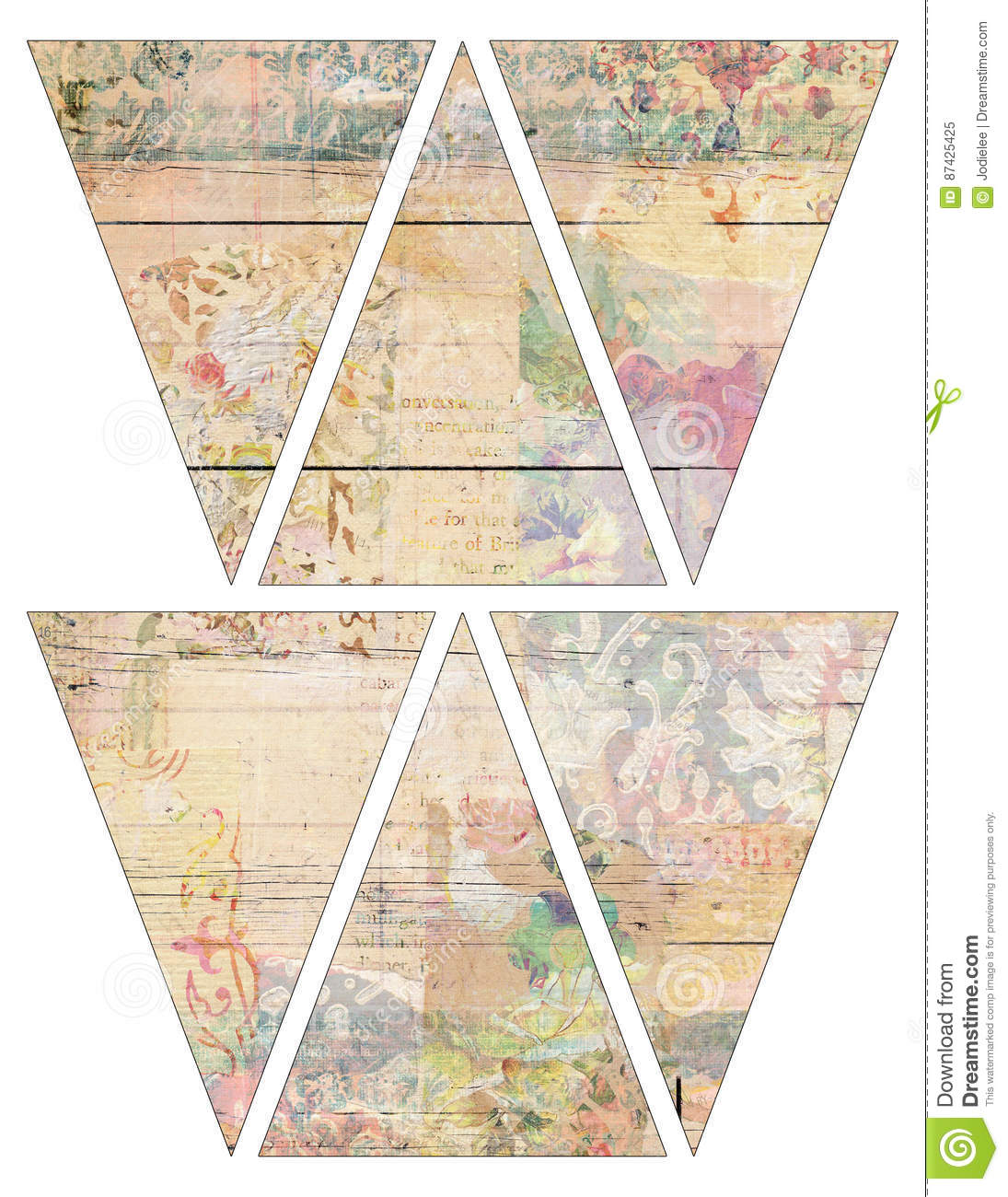 Diy Printable Vintage Style Banner Bunting Garland Flags With Collaged Vintage Wallpaper And Wood Background Stock Illustration Illustration Of Christmas Flags 87425425