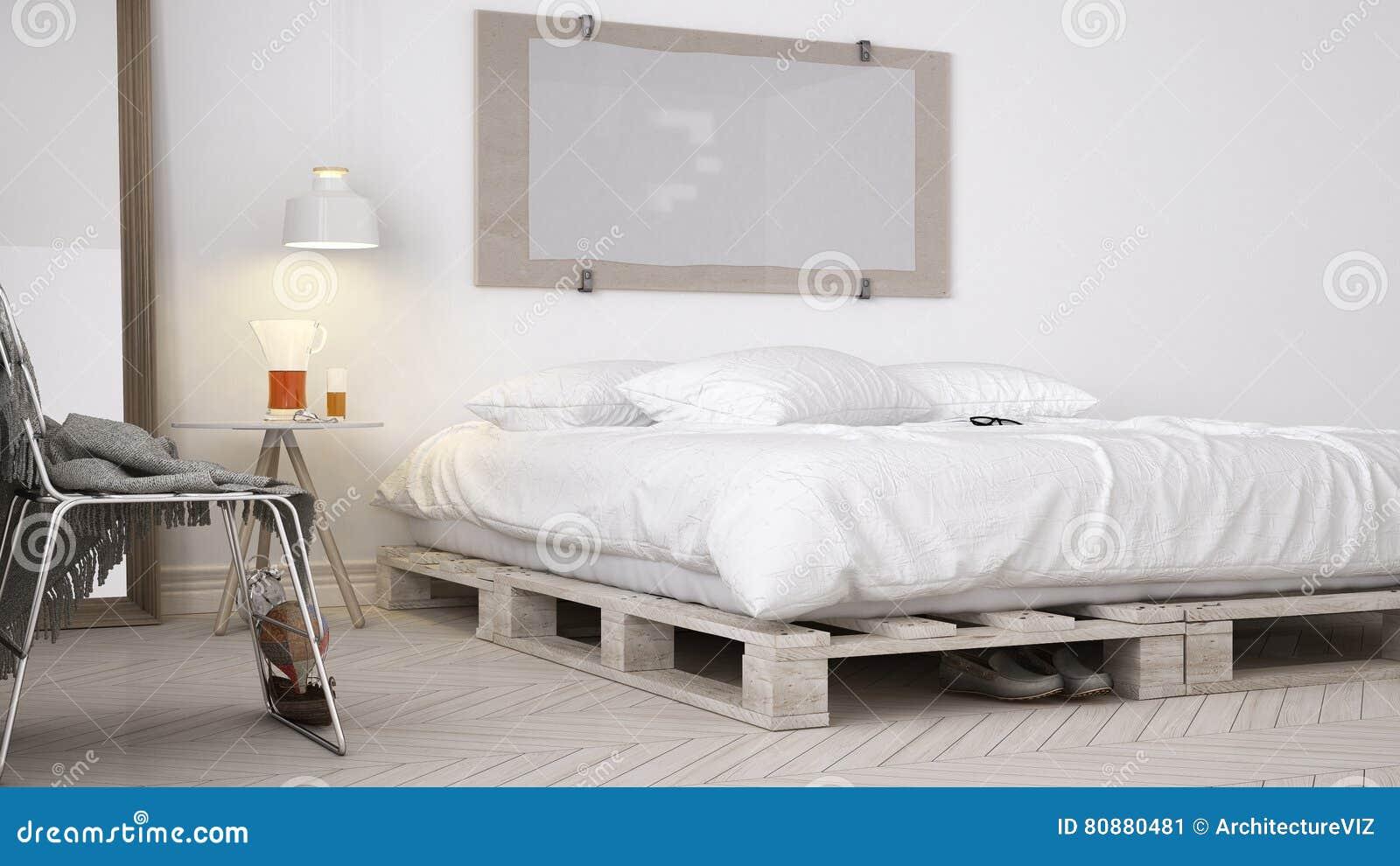 DIY-Schlafzimmer, Skandinavisches Weißes Eco Schickes Design Stock ...