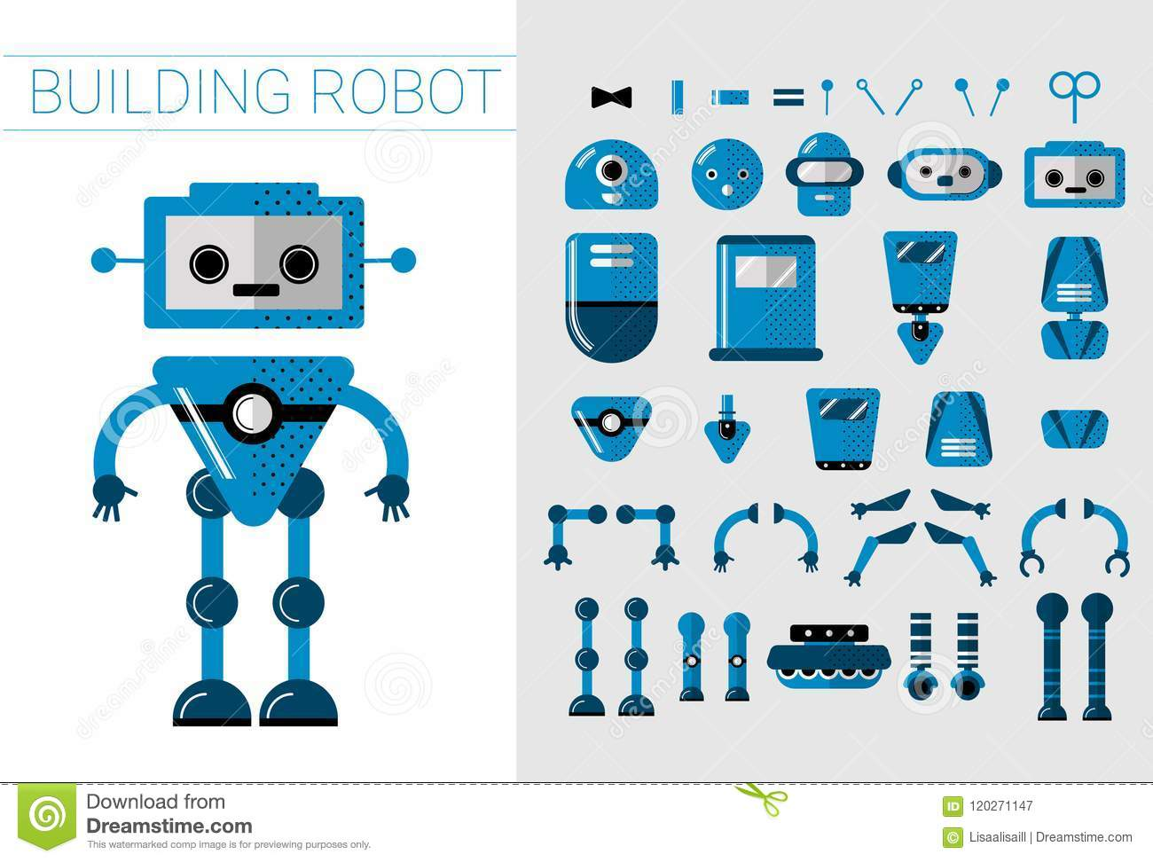 DIY Set Of Vector Robots Details In Flat Cartoon Style  Cute