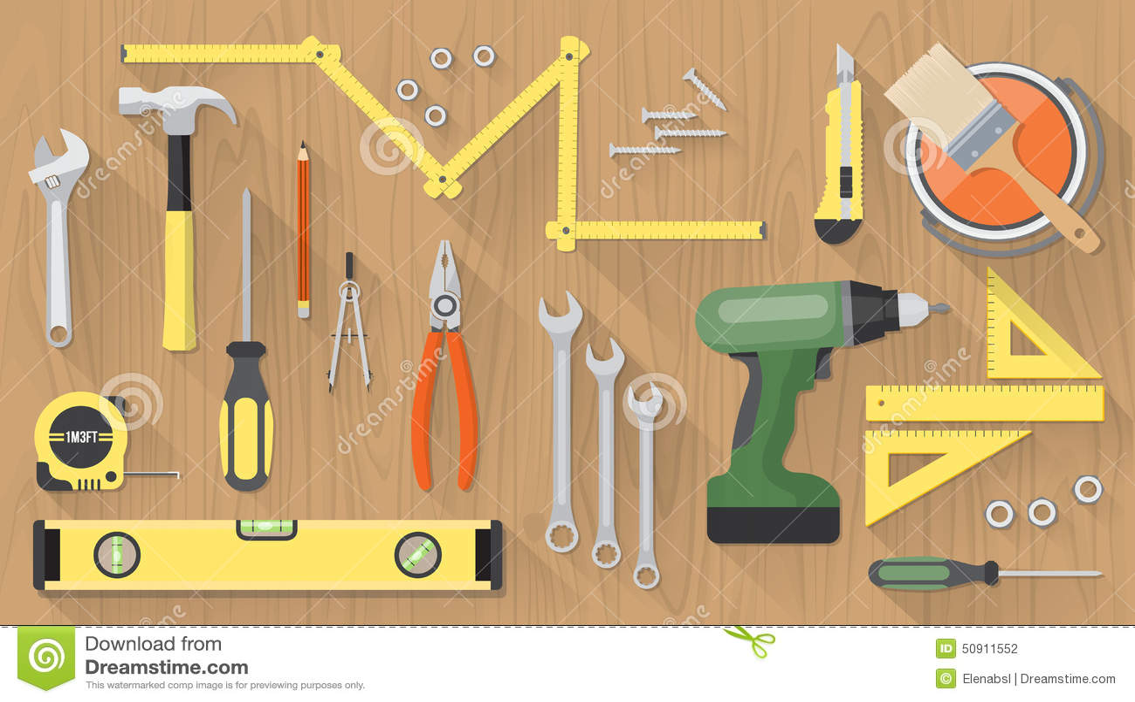 Diy Tools Set Stock Vector Image 50911552