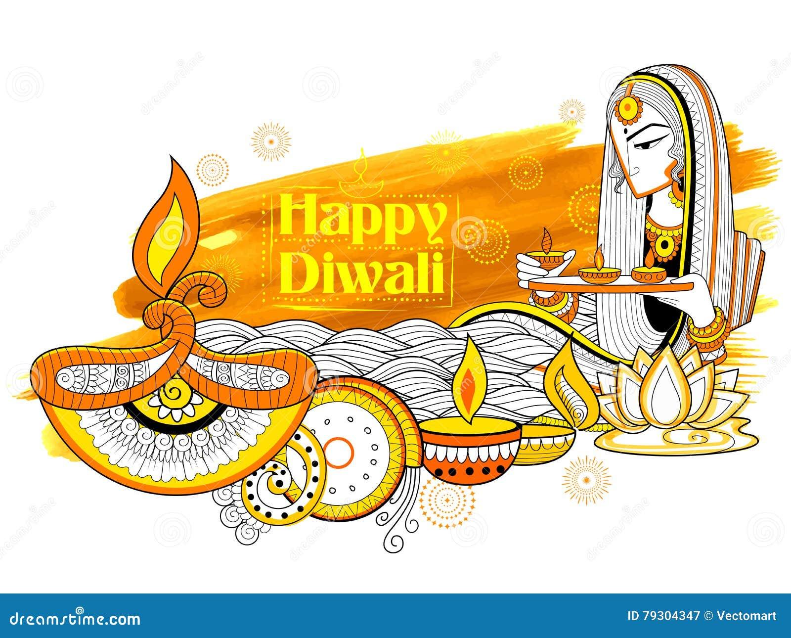 Diya γυναικείου καψίματος στο ευτυχές υπόβαθρο διακοπών Diwali doodle για το ελαφρύ φεστιβάλ της Ινδίας
