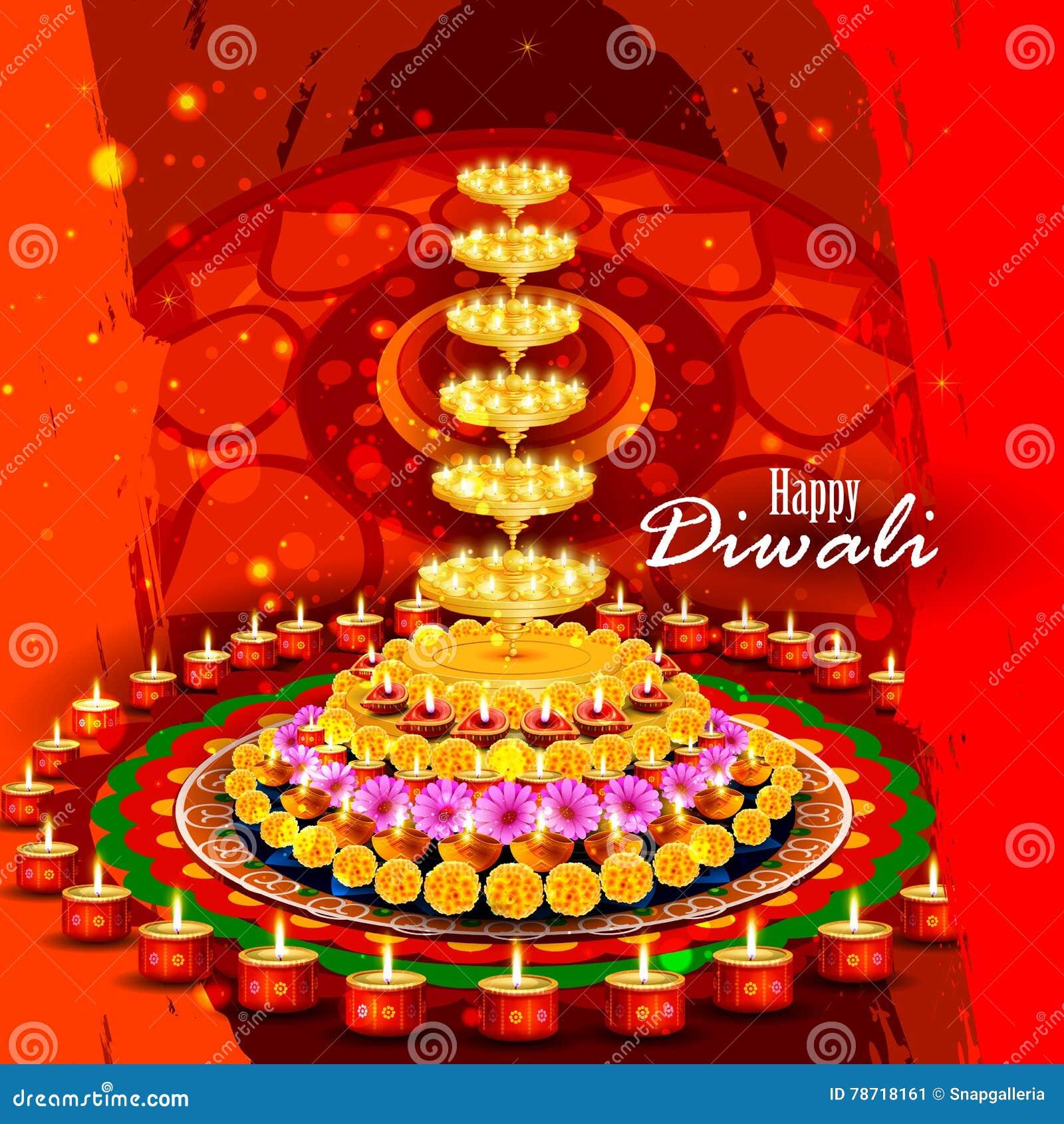 Diya adornado para el fondo feliz de Diwali