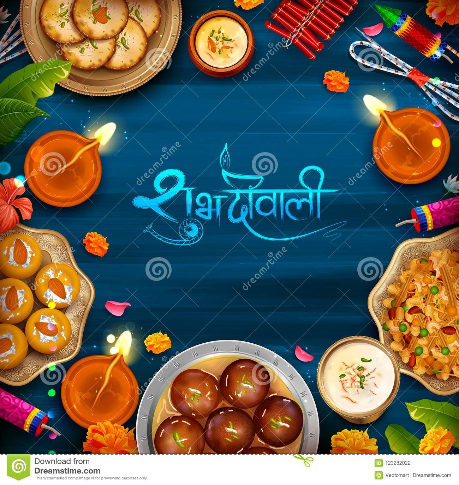 Diya ardente com doce sortido e petisco no fundo feliz do feriado de Diwali para o festival claro da Índia
