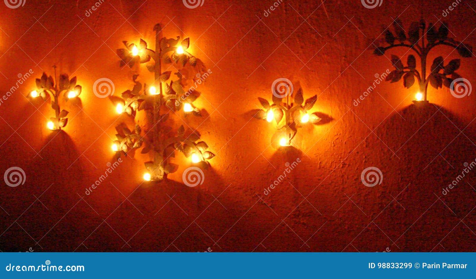 Diya lamp decoratie gelukkige diwali deepavali festival
