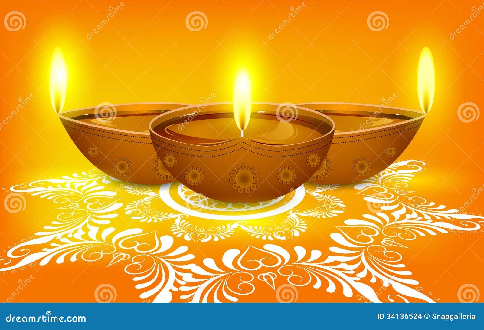 Diya on Rangoli for Diwali stock vector. Image of design - 34136524