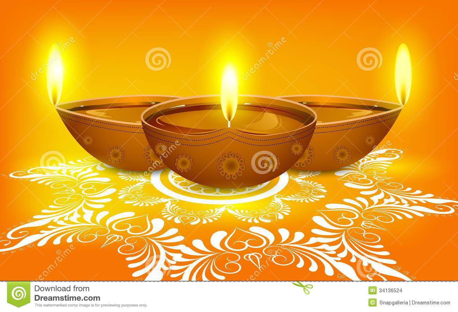 Diya on Rangoli for Diwali