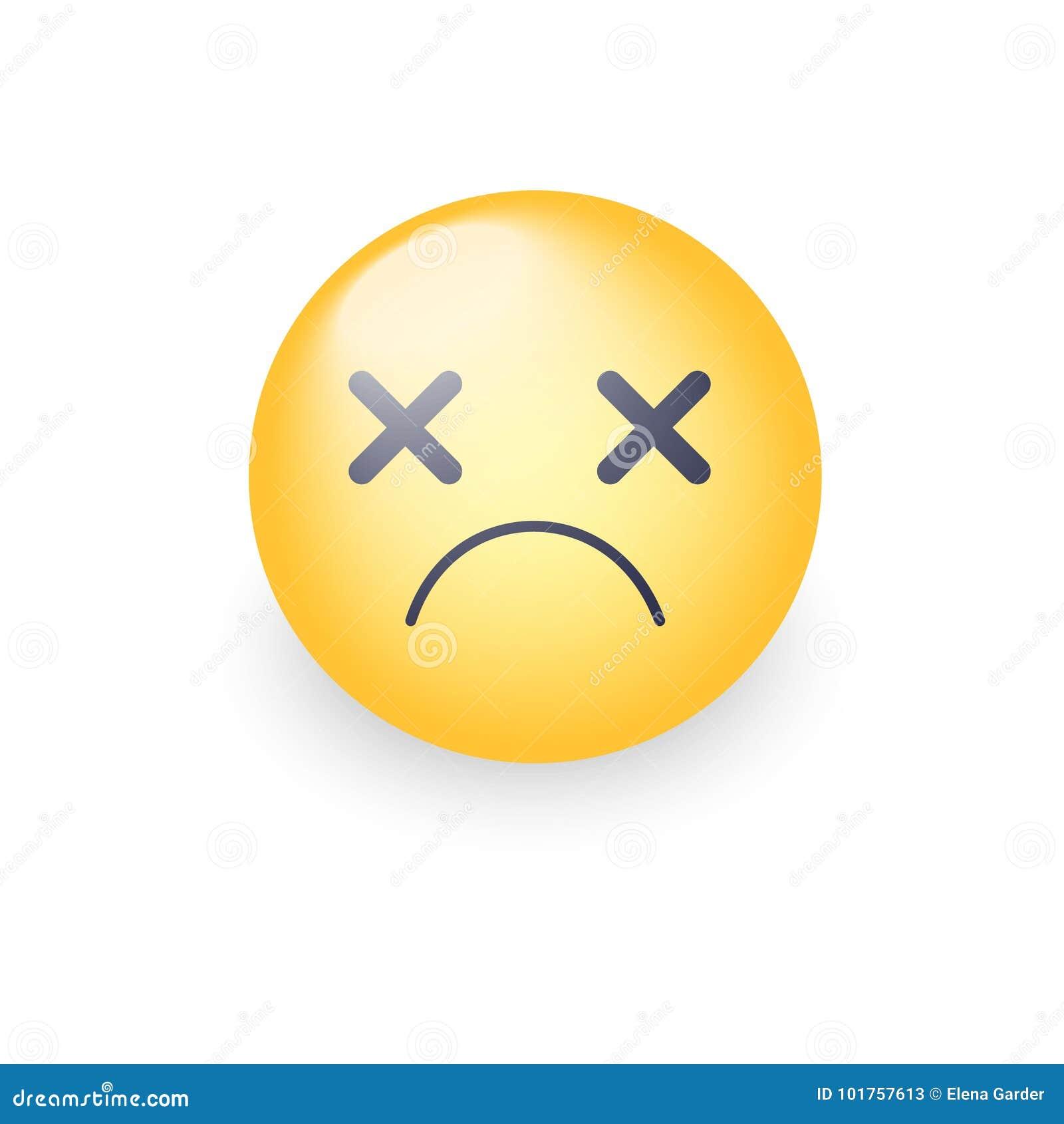 dizzy emoji face cross eyes emoticon vector icon sad smiley stock