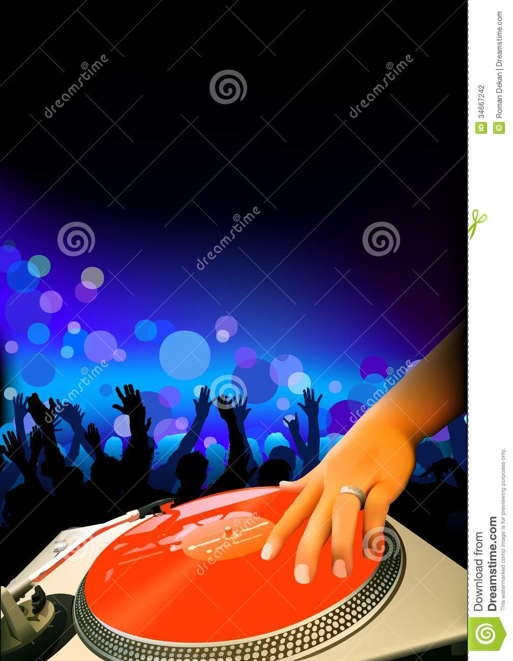 DJ And Audience stock vector. Image of hand, party ...