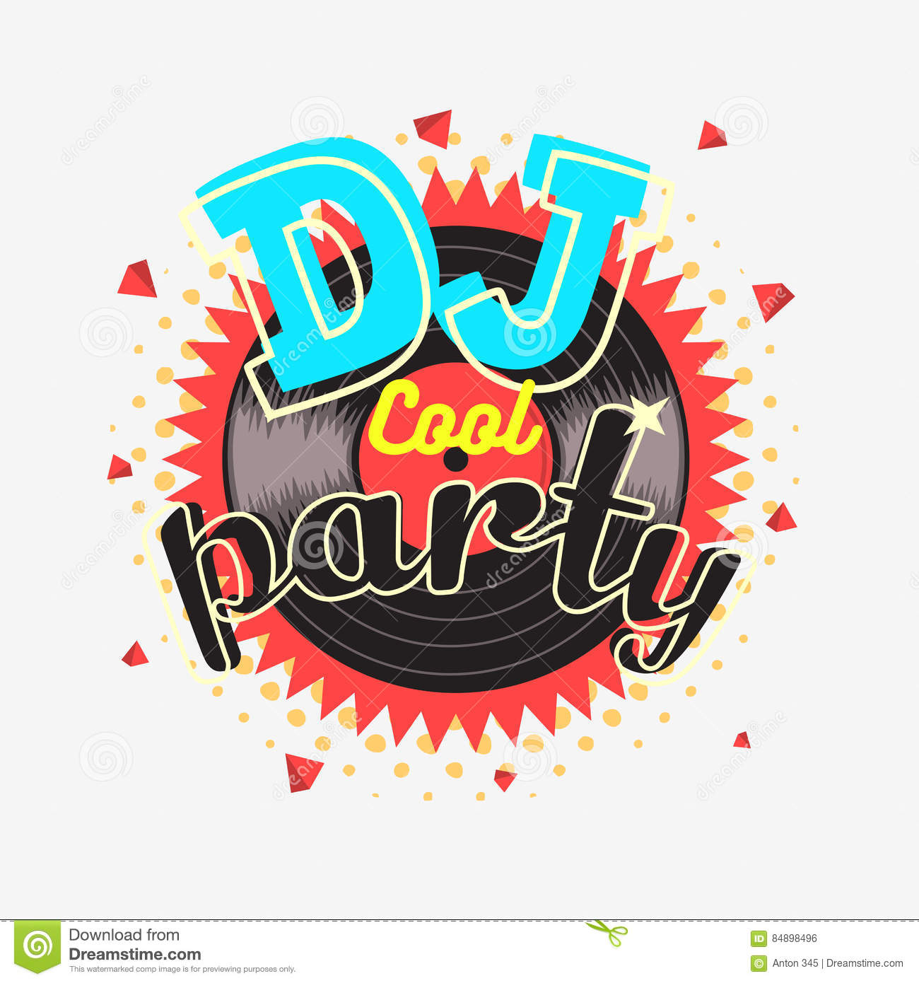 90s poster design - Dj Cool Party 90s Aesthetic Vibrant Colors Poster Design Stock Vector