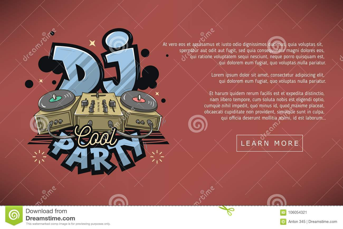 Royalty free vector dj cool party web banner design sound mixer and turntables