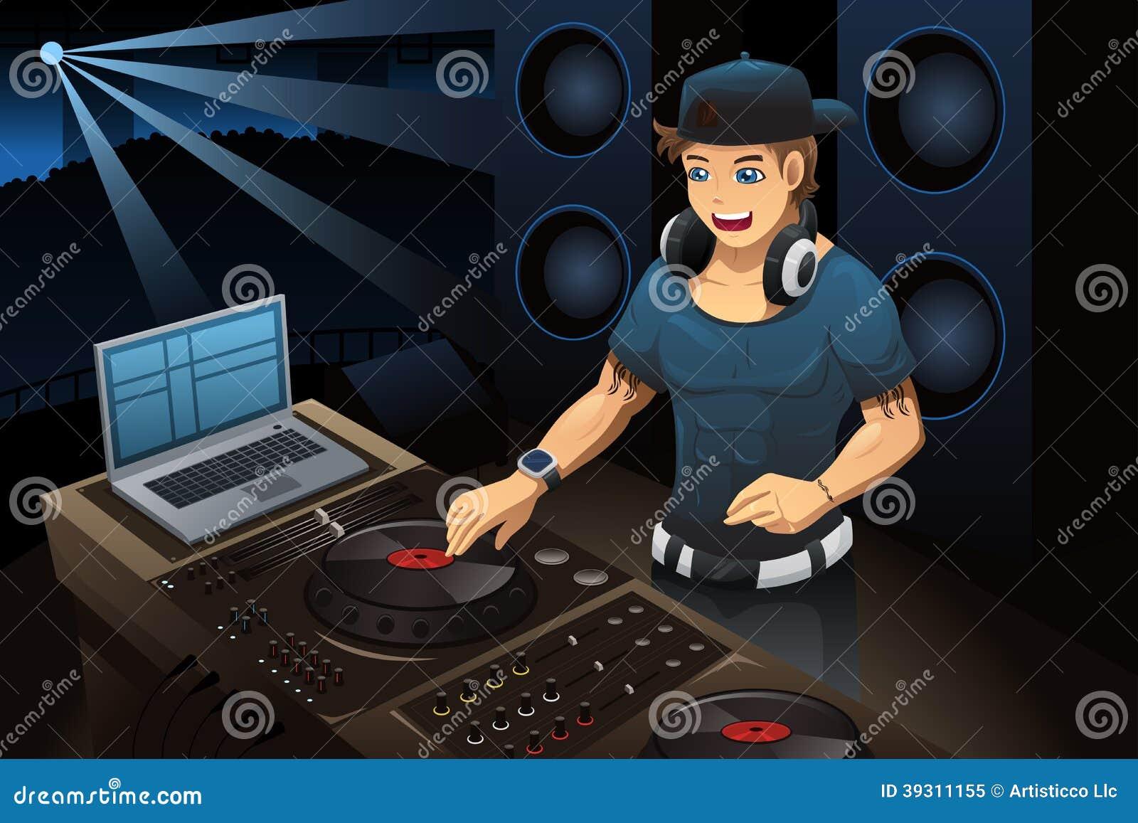 DJ, das in einem Nachtclub durchführt