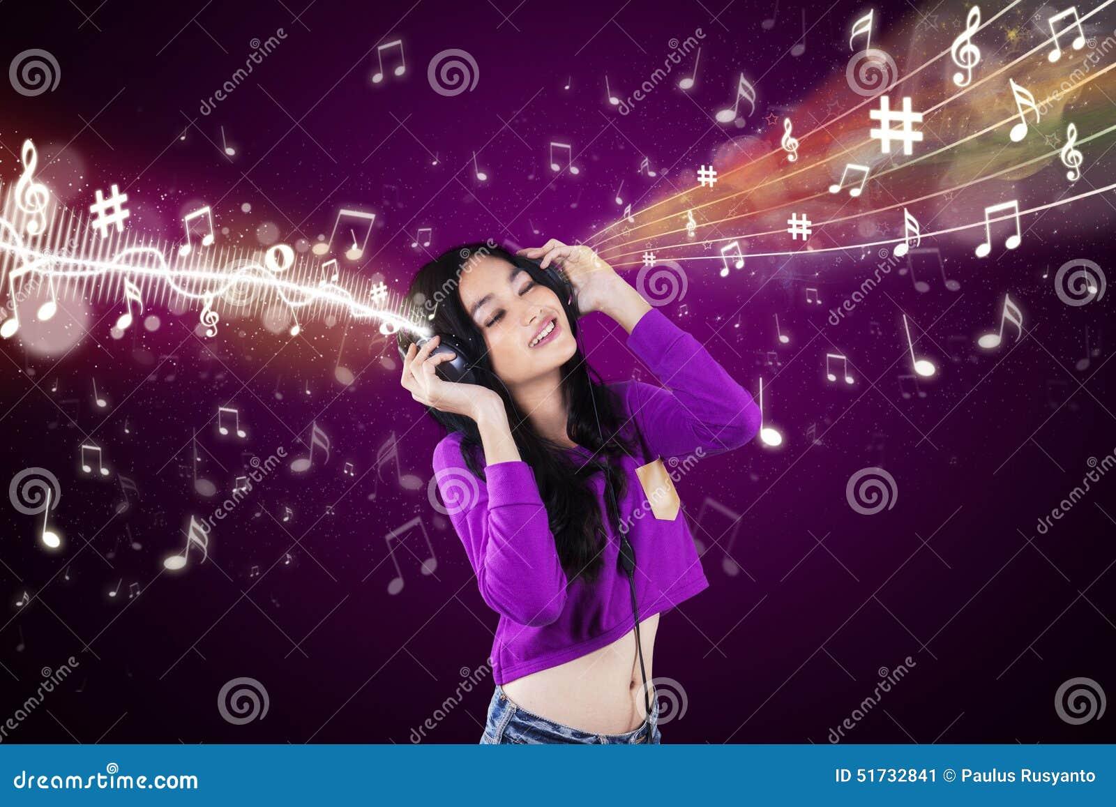 dj enjoy music with purple background stock illustration