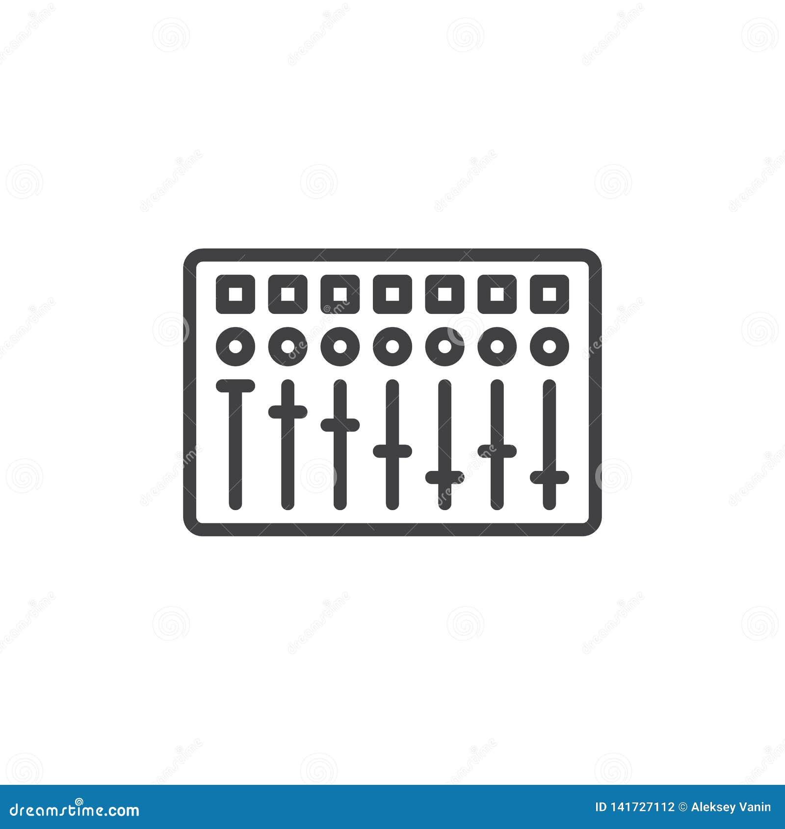 Dj Equalizer line icon stock vector  Illustration of