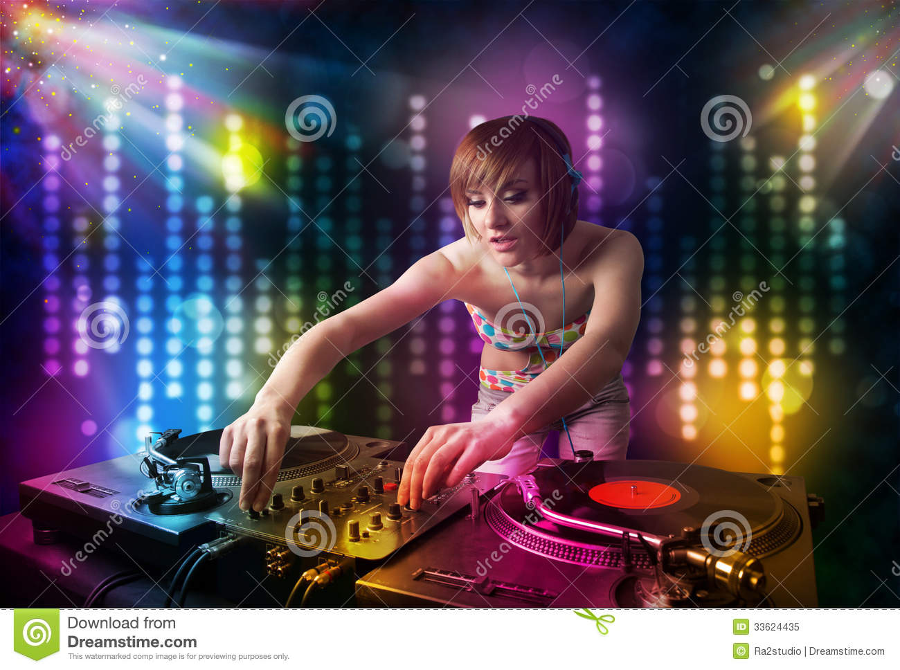 Dj Girl Playing Songs In A Disco With Light Show Stock Illustration Image 33624435