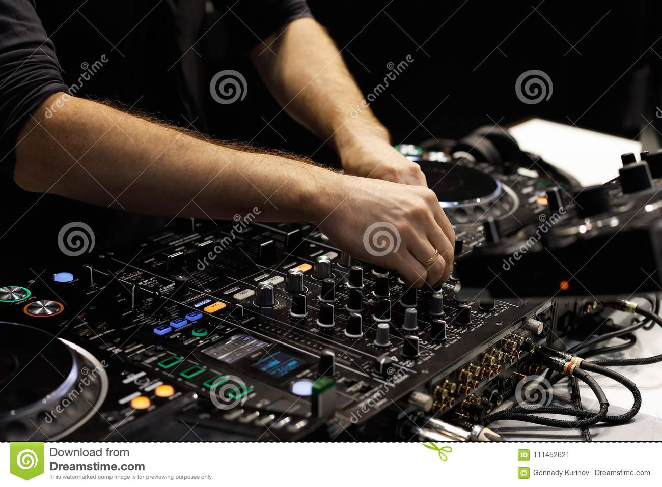 dj hands mixing tracks on sound mixer controller stock image image
